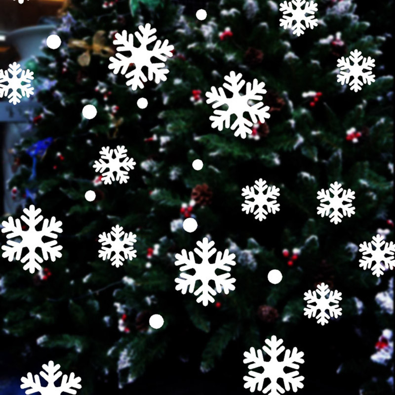 Christmas Snowflake Window Stickers Glitter Xmas Home Decorations Decor