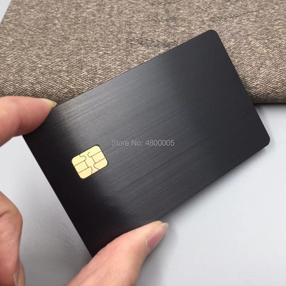Proximity Smart Contact Rfid Black Steel Metal Sle4442 Chip Card