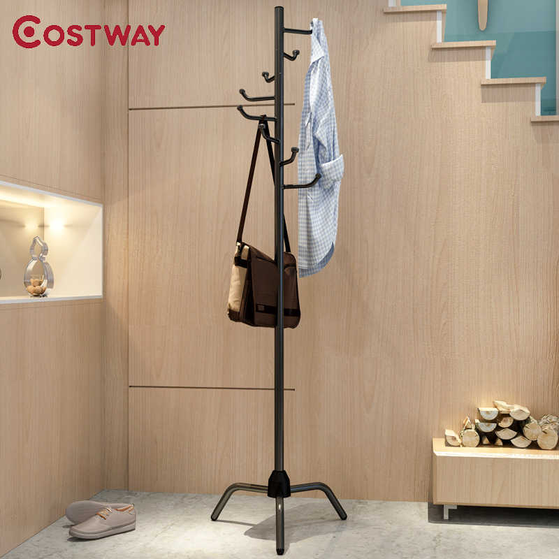 COSTWAY Clothes Hanger Coat Rack Floor Hanger Scarf Hat Wardrobe Clothing Drying Racks porte manteau kledingrek perchero de pie