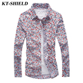 Autumn New Luxury Men Floral Print Shirts Cotton Men Fashion Casual Shirt Brand Clothes Slim fit Long sleeved Camisas masculina