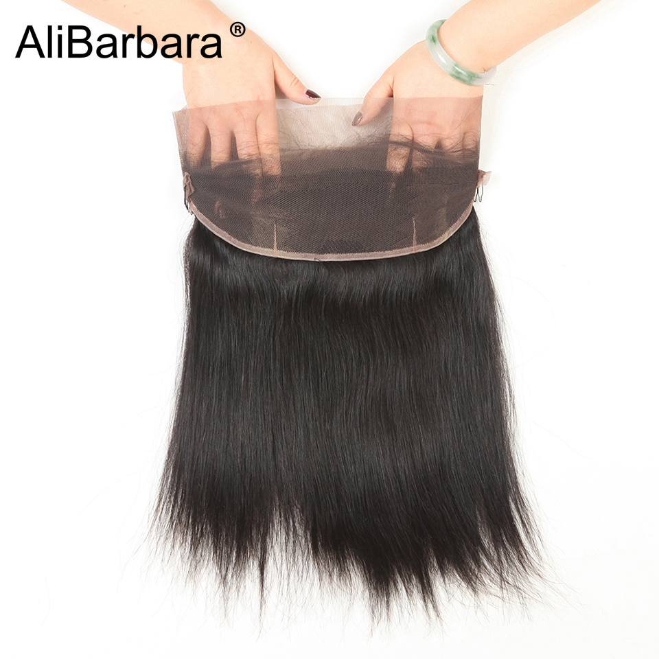 Alibarbara Hair 360 Lace Frontal Malaysian Straight Hair Closure With Baby Hair Non remy Human Hair Natural Color Fast delivery