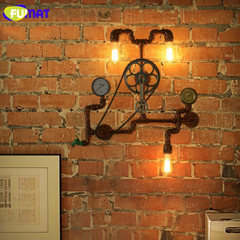 Fumatレトロ水パイプギア壁ランプ産業クリエイティブアート鉄の壁燭台ロフトカフェバー通路壁ライト