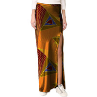 African Elegant Side Kick Pleat Womens African Skirt Colorful Print Element Dashiki Clothing Tailor Custom