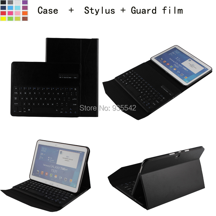 For <font><b>Samsung</b></font> Galaxy Tab 4 10.1 inch T530 Tablet 3-in-1 Bluetooth QWERTY Keyboard Portfolio Stand Case - Detachable ABS Keyboard