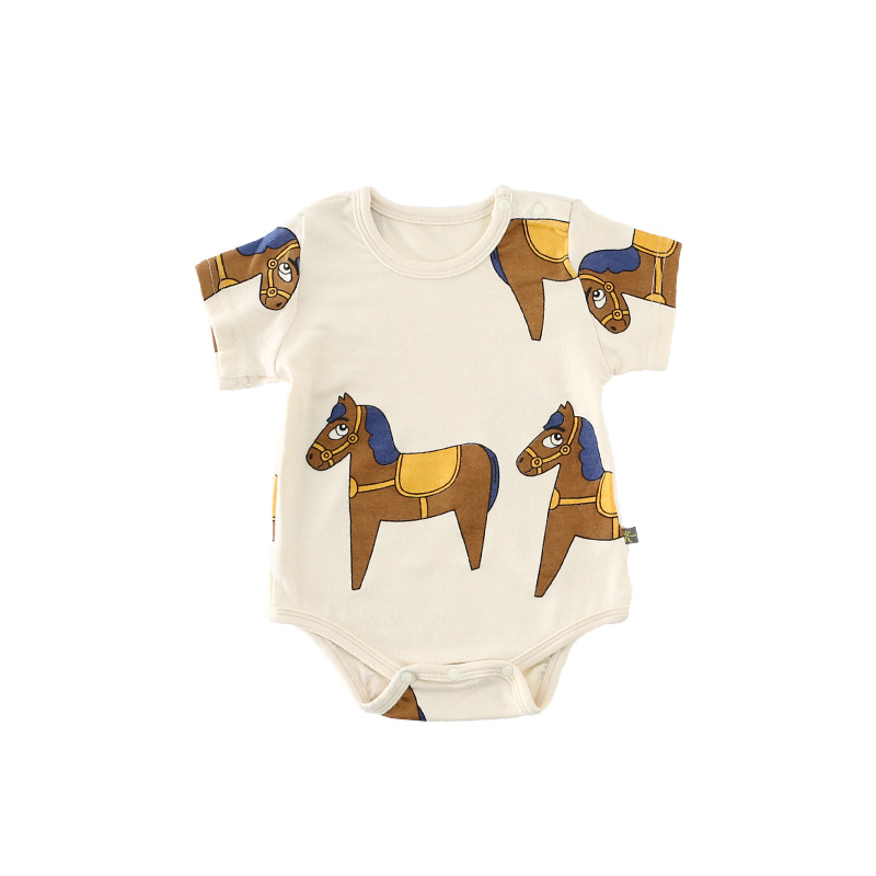 Cotton Newborn Baby Bodysuits Cute Animal Horse Print Short Sleeve Summer Jumpsuit New Body Baby Infant Boy Girl Clothing