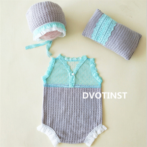 Image 5 - Dvotinst Newborn Photography Props Baby Lace Crochet Knit Outfits Set Clothes Fotografia Accessories Studio Shooting Photo Prop