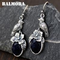 BALMORA 100 Real 990 Pure Silver Bird Flower Earrings For Women Mother Gift Retro Earrings Cute