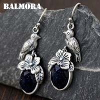 BALMORA 100% Real 990 Pure Silver Bird & Flower Earrings for Women Mother Gift Retro Earrings Cute Jewelry Brincos SJS30026