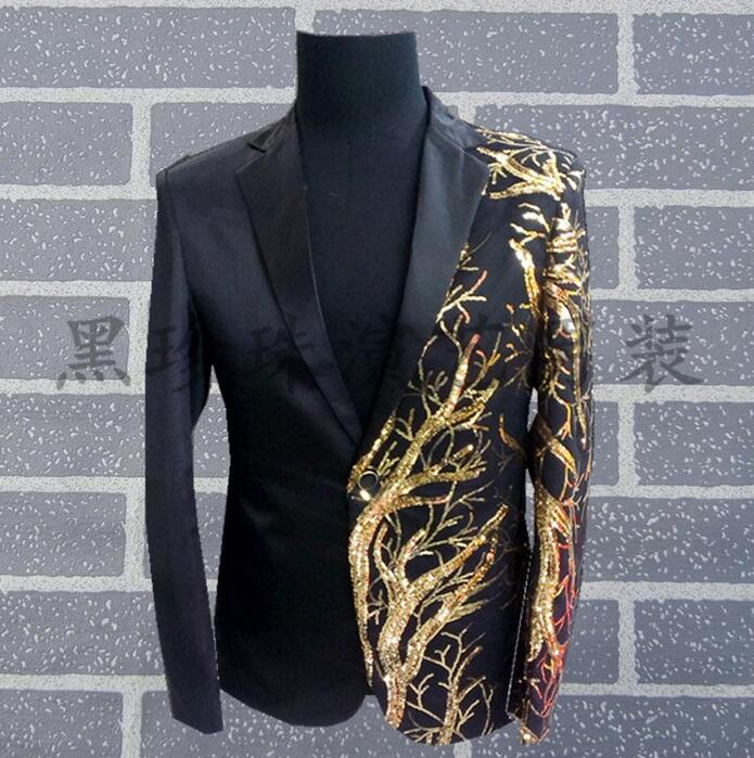 Gold Embroidered Men Suits Designs Masculino Homme Terno Stage Costumes For Singers Men Sequin Blazer Dance Clothes Jacket Black