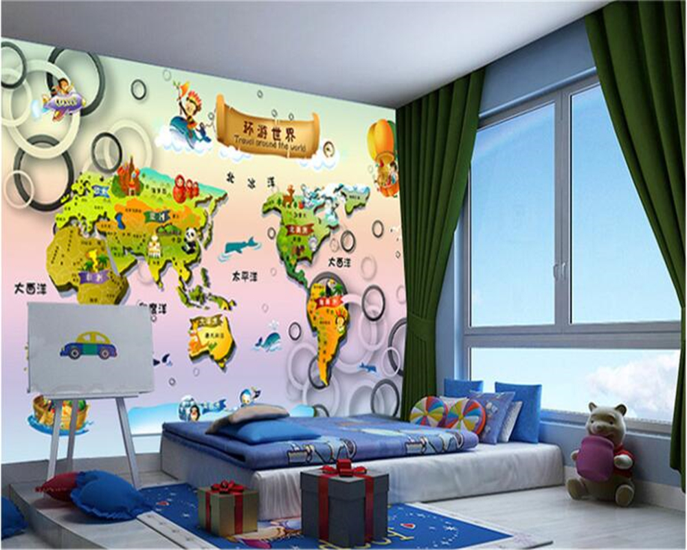 beibehang Custom Aesthetic Boy Girl 3d Wallpaper Mirage Circle Kids Room Backdrop Decorative Painting papel de parede wallpaper