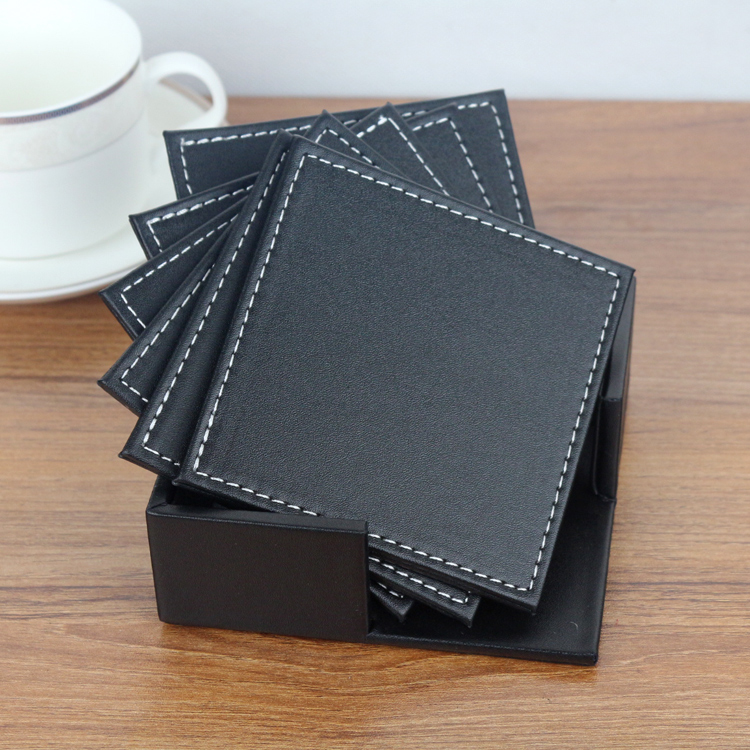 Rectangle Coasters Leather Cup Drinks Holder Mat Tableware Placemat Mousemat
