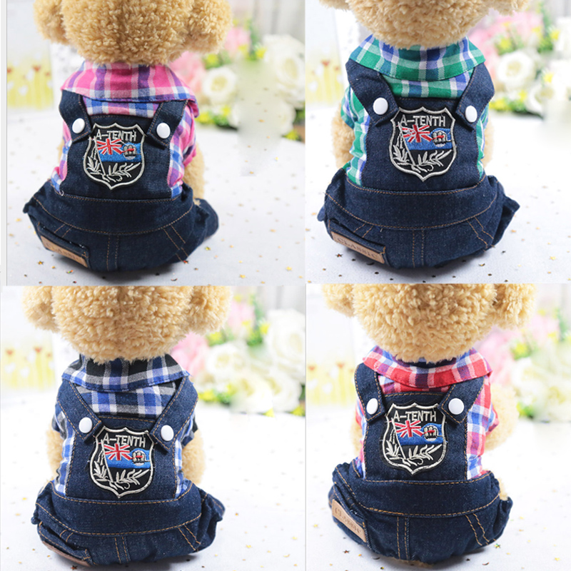 New Dog Clothes Pet Products Puppy Cat Costumes Lattice Four Legs With Jeans Onesies Jacket Spring Summer Autumn Wear