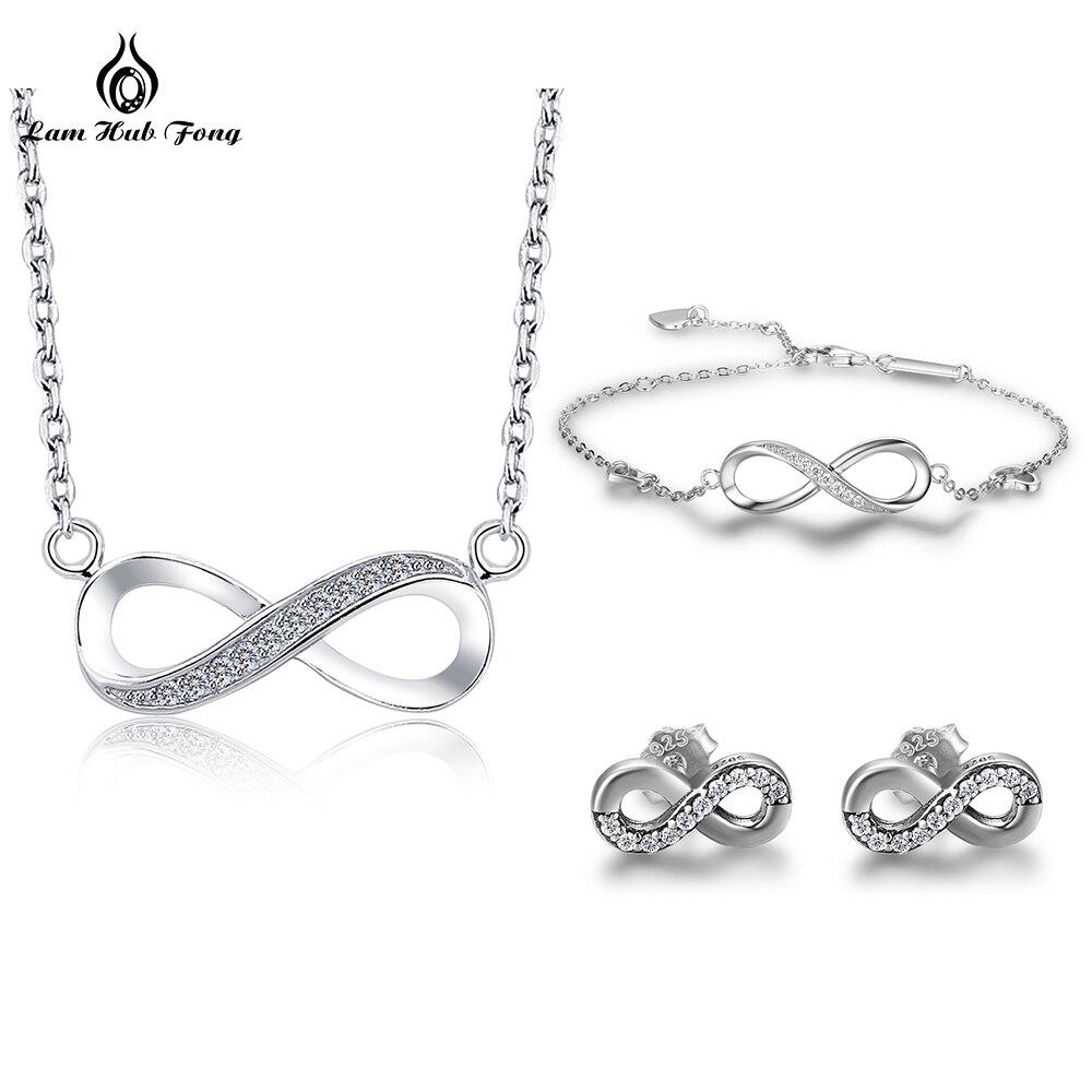 2018 nouveaux ensembles de bijoux Infinity 925 en argent Sterling CZ cristal bracelet à breloques pendentif collier boucles d'oreilles pour femmes bijoux de mariage