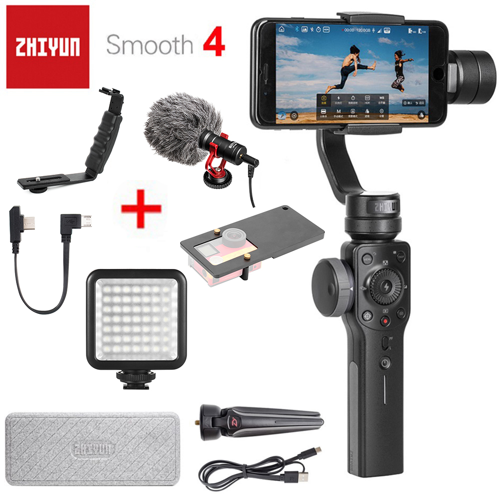 Zhiyun Smooth 4 3-Axis Handheld Smartphone Gimbal Stabilizer for iPhone X 8Plus 8 7Plus 7 6S Samsung S9 S8 S7 & Action Camera zhiyun smooth 4 3 axis handheld smartphone gimbal stabilizer vs zhiyun smooth q model for iphone x 8plus 8 7 6s samsung s9 s8 s7