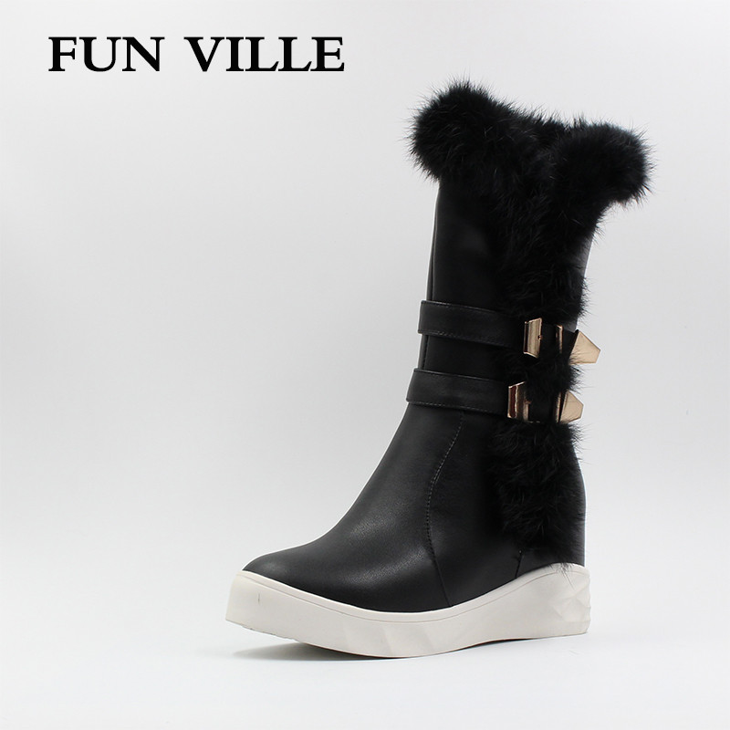 FUN VILLE New Women Mid-Calf Boots for winter Genuine leather + PU Soft Cute Women Snow Boots Round Toe Flat with Fur zipper double buckle cross straps mid calf boots
