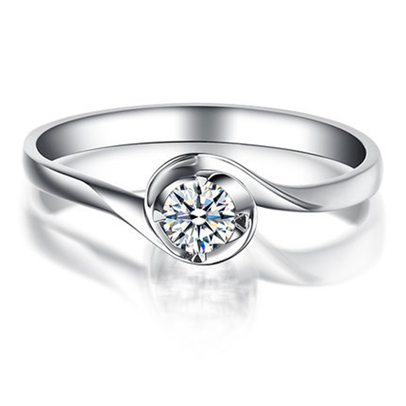 ANI 18K White Gold (AU750) Women Engagement Ring 0.3 CT Certified I/SI Round Cut Natural Diamond Classic Twisted Wedding Rings ani 18k white gold au750 wedding ring 0 50 ct certified i si natural solitaire round cut diamond jewelry twisted bridal rings