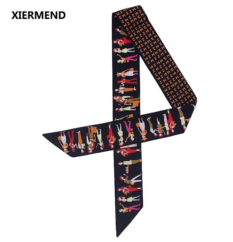 2018 Scarf New Design Paris Holiday Tied Bag Small Ribbon Ms. Twill Silk Scarves Hair Band Head Scarf