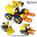 2016 Nuevo Tipo de Diseño de dibujos animados DIY camiones car juguetes para niños Modelo Montado Herramienta Destornillador Deformación Montaje de Juguetes Educativos
