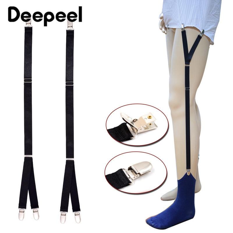 Deepeel 1pair 2X60cm Men Suspenders For Shirt Holder Fashion Nylon Garters Elastic Uniform Strap Suit Decoration Accessory SP028