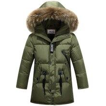 Дети утка вниз верхняя одежда Мальчики зимняя куртка дети пальто с меховым капюшоном длинные теплые толстые зимние пальто