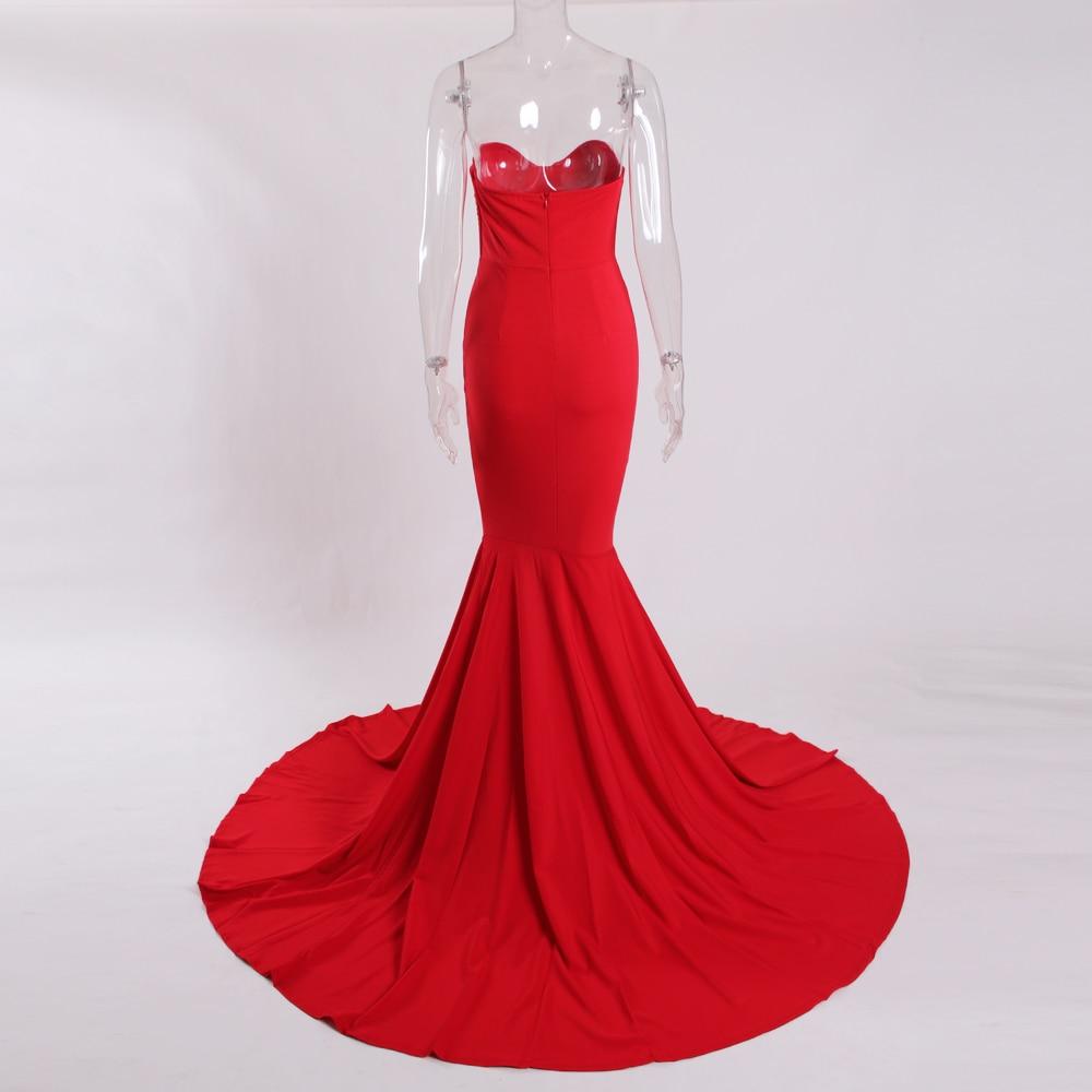Strapless Split Front  Mermaid Sleeveless Elegant Dress 9