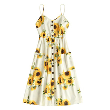 Button Sunflower Print Midi Dress Summer A-Line Sleeveless Sundress Vintage Kawaii Yellow Bohemian Chiffon