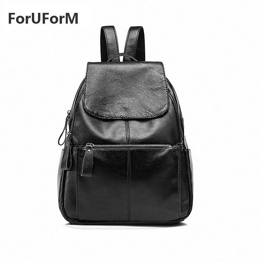 ФОТО Genuine Leather Women's Backpacks Fashion Student School bags All-match Girl's Leisure Backpacks Travel Bags -GL001