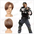 Leon Scott High Quality Synthetic Natural Hair Wigs Biohazard / Resident Evil Kennedy Short Straight Brown Mixed Cosplay Wig