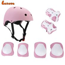 LANOVA 7pcs/Set Protective Gear Set Kids Knee Pads Elbow Pads Wrist Protector Protection helmt for Scooter Cycling Roller Skate professional five pieces set sanda protective gear full set flanchard head protection