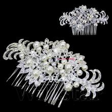 2016 New Wedding Bridal Hair Comb Jewelry Flower Pearl Crystal Tiaras & Hair Accessories Sparkly Bride Hair Combs In Stock