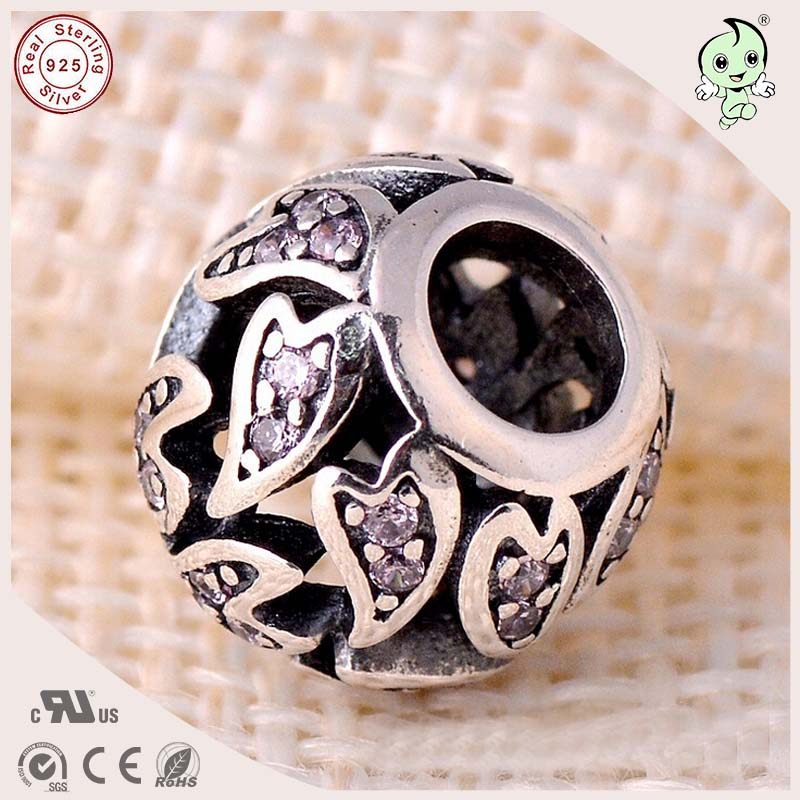 Calvas Spring S925 Sterling Silver Jewelry Inspiration Within with Purple Cz Spacer Charms Beads Fit European Bracelets Necklace