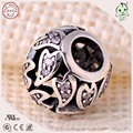 Hot Sale Beautiful Zircon Stone Paving 925 Sterling Silver Hollow Ball Bead Charm For European Chain