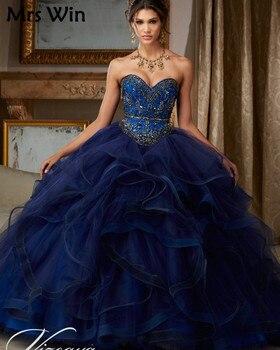 cb9547e59 Puffy princesa Popular debutantes vestido azul marino vestidos de  quinceañera 2019 barato Quinceanera trajes dulce 16 vestidos de 15 años