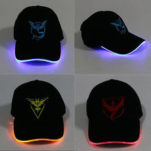 Pokemon Cap Hat Pokemon LED Lighted Glow Club Party Sports Athletic Team Walor Instict Mystic Fabric Travel Hat Baseball Cap