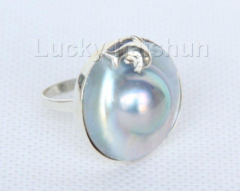 Vente de bijoux>> AAA dauphin 24mm gris mer du sud Mabe perles anneaux 925 argentVente de bijoux>> AAA dauphin 24mm gris mer du sud Mabe perles anneaux 925 argent
