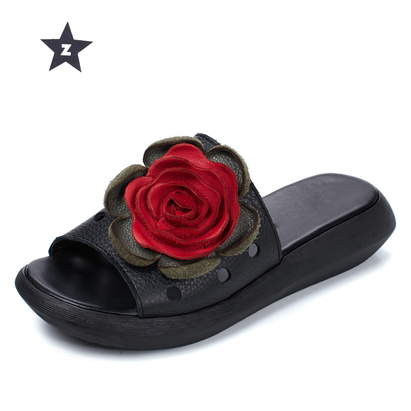489d400b2bcb Z summer sandals flip flop women leather shoes beach slippers ethnic floral  openwork wedges platform sandals women slippers-in Slippers from Shoes on  ...