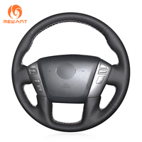 MEWANT Black Genuine Leather Steering Wheel Cover for Nissan Patrol Armada NV Cargo NV Passenger (US) Titan Infiniti QX56 QX80