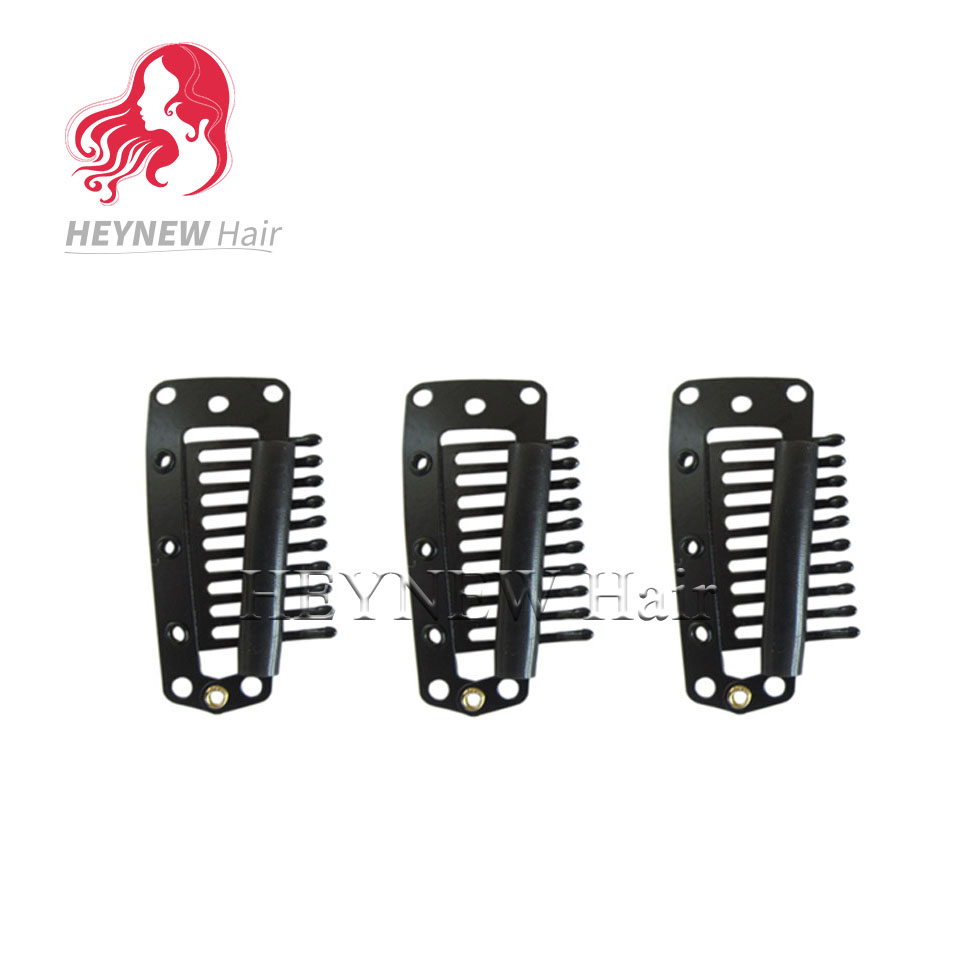Free Shipping 150pcs/lot I-shape Snap Clips For Hair Extensions Wig Weft 38mm-10teeth Black Color Grade Products According To Quality Tools & Accessories
