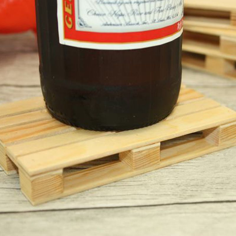 Miniature Pallet Wood Beverage Coasters Drink Wine Glasses Beer Bottle Whiskey Glass Cup Mat Hot Cold