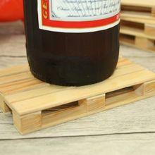 Miniatura Pallet De Madera Posavasos cerveza Beber Copas de Vino Botella de Cerveza whisky de Cristal Estera de Tabla Estera de la Taza de Bebidas Calientes y Frías Caliente venta