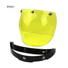 купить Yellow color  Motorcycle Helmet Visor bubble Shield Retro harleyr Helmet Mask Bubble Visor vintage mirror color lens дешево