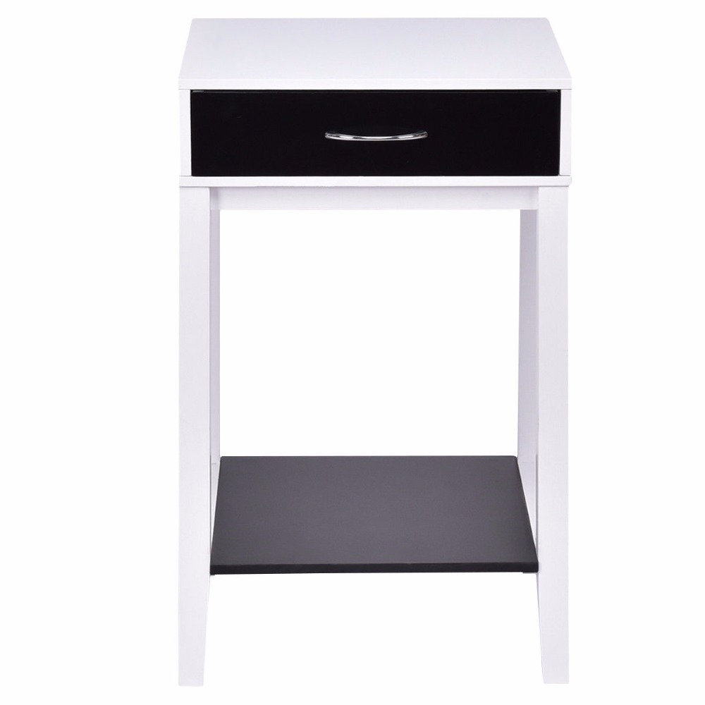 Goplus Side Table For Sofa Bed Living Room Modern Coffee White Bedroom Bedside Tables With Drawer Nightstands Hw55475 In From Furniture