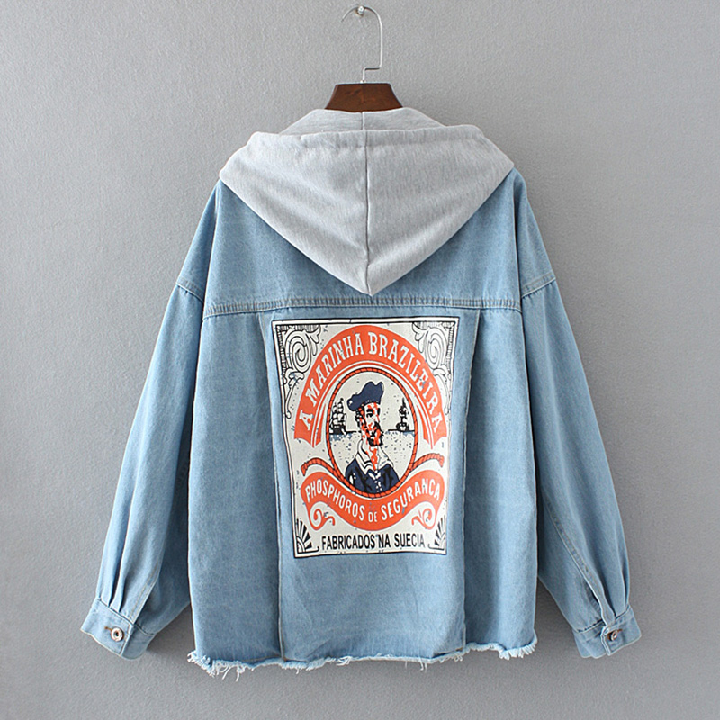 BONU Autumn Hooded Loose Denim Jacket For Women Letter Printed Harajuku Female Coat BF female bomb Autumn Jeans Jacket Women 1