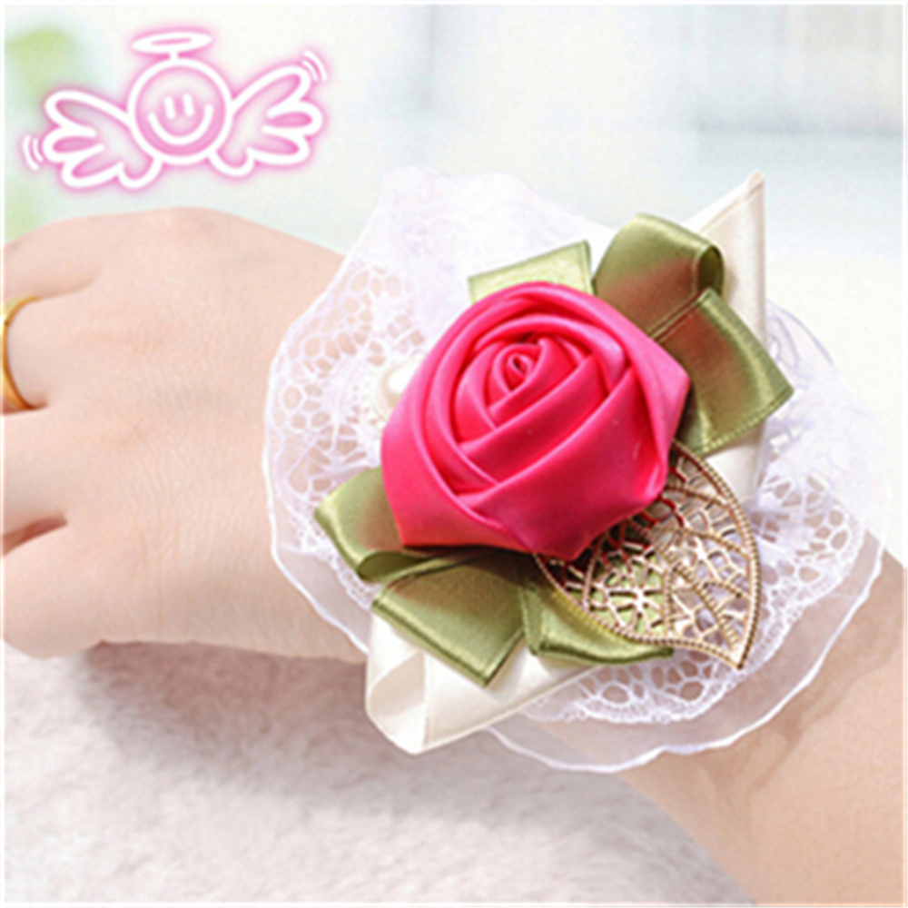 Hot Sale Wedding Prom Wrist Corsage With Bracelet Silk Rose