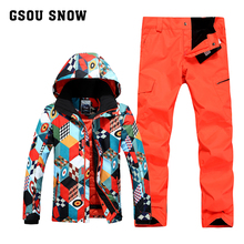 Gsou Snow winter ski suit snowboard ski jacket men chaqueta hombre thermal waterproof veste ski