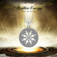 Angel Caller Authentic 100% 925 Sterling Silver Wheel of Karma Necklaces Pendants for Women Sterling Silver Jewelry Gift CYD378