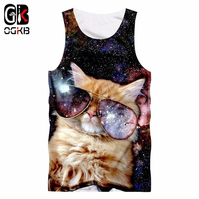 e633f6d958f US $9.44 50% OFF|2018 Gyms Clothes Women/men Cool Print Galaxy Space 3d  Tank Top Cat Singlets Unisex Bodybuilding Fitness Sleeveless Tee Shirt-in  Tank ...