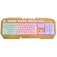 MOSUNX Futural Digital USB Wired Illuminated Colorful LED Backlight Metal Gaming Keyboard GD F20