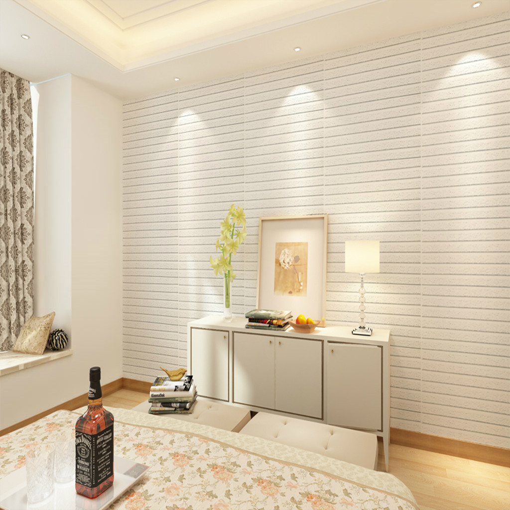 60 60 white 3d brick wall sticker self adhesive panel for White self adhesive wallpaper