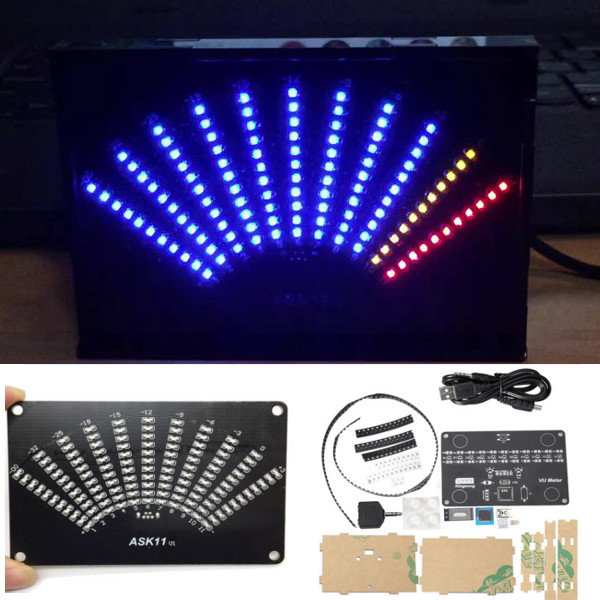 ASK11 VU Table LED Music Spectrum Display Light Fan Shaped Pointer Level DIY Light Cubic Kit vu table driven plate replacement level bile machine chassis before ta7318p amplifiers